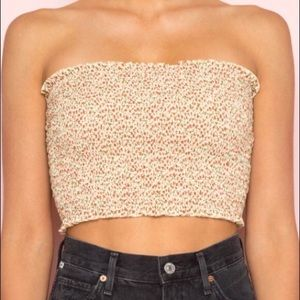 Brandy Melville Yellow Floral Cleo Tube Top